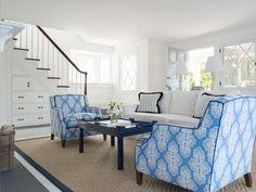 blue and white beach house living room   Elena Phillips Interiors