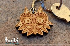 Laser cut and engraved Zelda Majora's Mask wood keyring