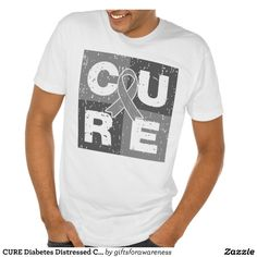 CURE Diabetes Distressed Cube Tshirts by www.gifts4awareness.com