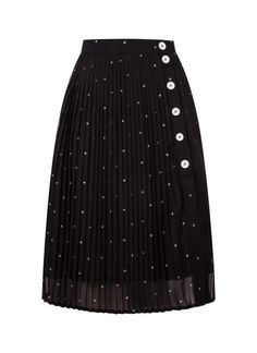 The Frida Star Print Pleated Button Skirt is a pleated mini star print below the knee midi skirt with contrast white button-through fastenings. Midi Skirt Outfit, Pleated Midi Skirt, Skirt Outfits, Dress Skirt, Vintage Inspired Outfits, Vintage Outfits, Joanie Clothing, Below The Knee Skirt, Monochrome Outfit
