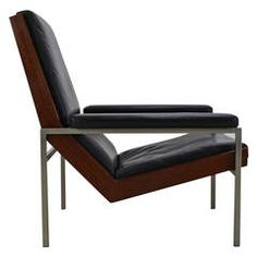 Lounge chair Lotus in black leather by Rob Parry for Gelderland Holland