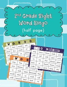 sight word bingo.  enough boards for your whole class, now available on half pages!