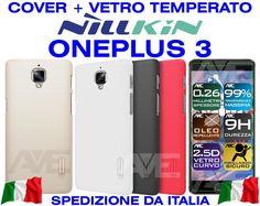 COVER CASE + VETRO TEMPERATO ONEPLUS 3 THREE A3000 NILLKIN FROSTED FUNDA COQUE
