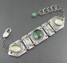 sterling silver, prehnite and turquoise vine bracelet by nrjewellerydesign - www.etsy.com/shop/NRjewellerydesign