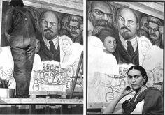 Diego Rivera pintando. / Frida em frente a um painel em progresso. Nova York, EUA, 1933. Fotos: Lucienne Bloch.