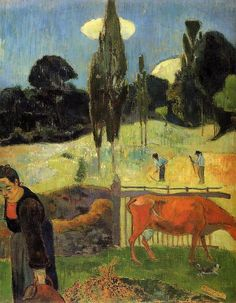 artishardgr:  Paul Gauguin - The red cow 1889