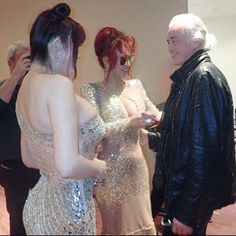 Jimmy Page and TV celebrities the Kano sisters at the Classic Rock Awards in Tokyo Nov. 11, 2016