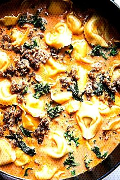 Tortellini Soup with Italian Sausage and KaleYou can find Italian sausage soup and more on our website.Tortellini Soup with Italian Sausage and Kale Italian Sausage Pizza, Tortellini Soup, Kale, Risotto, Ethnic Recipes, Food, Website, Modern, Collard Greens