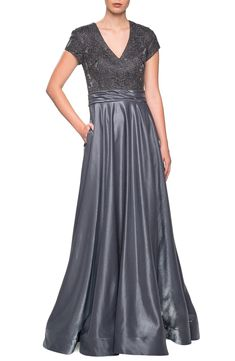 online shopping for La Femme Two-Tone Satin A-Line Gown from top store. See new offer for La Femme Two-Tone Satin A-Line Gown Satin Gown, Satin Skirt, 1940s Dresses, Formal Dresses, Bride Dresses, Women's Dresses, Fashion Dresses, Bridesmaid Dresses, Wedding Dresses