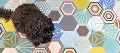 hexagonal patchwork tiles