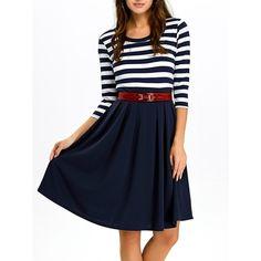 A Line Stripe Dress (345 ARS) ❤ liked on Polyvore featuring dresses, striped dress, a line shape dress, a line silhouette dress, stripe dresses and blue dress