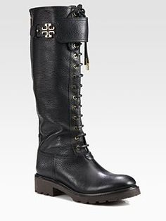 Tory Burch - Wesley Leather Lace-Up Boots