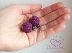 PENDIENTES DE LINO brillante púrpura / azul / rojo Crochet bola porción AmazingDay