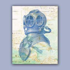 Nautical print Diver Helmet Print, 11x14 Print,  Vintage image scuba diving helmet  over old Mexico Golf Map,  Map art Nautical art, on Etsy, $25.00