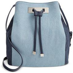 Inc International Concepts Modie Denim Drawstring Bag, ($59) ❤ liked on Polyvore featuring bags, handbags, shoulder bags, accessories, purses, blue denim, bucket bag, blue shoulder handbags, denim handbags and hand bags