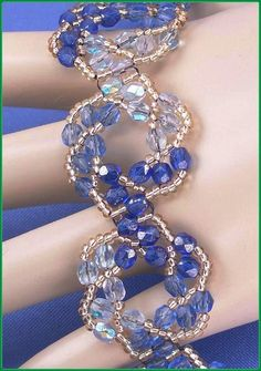 05437 Sapphire Czech Fire Polished and Silver Lined Gold Seed Bead Bracelet…