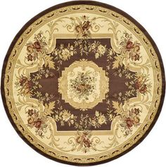 Brown Classic Aubusson Area Rug