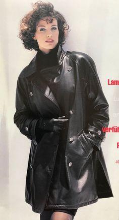 Long Leather Coat, Leather Gloves, Leather Jacket, Vinyl Raincoat, Seventies Fashion, Fur Coats, Trench Coats, Vintage Leather, Leather Fashion