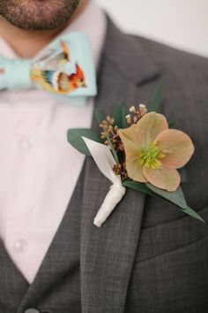 boutonniere + bird bow tie // photo by Mikaela Ruth