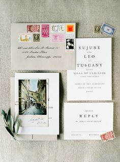 Great destination wedding invitations - the photo and the stamps definitely give you a flavor of the event to come! Photo O'Malley Photographers
