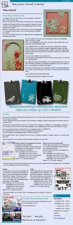 Nieuwsbrief van Marjolein Zweed Creatief van 1 en 2 mei.