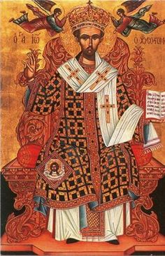 St. John Chrysostom (c. 347–407, Greek: Ἰωάννης ὁ Χρυσόστομος), Archbishop of Constantinople. Orthodox & Eastern Catholic Churches honor him as a Saint & as a Doctor of the Church & count him among the Three Holy Hierarchs, together with Basil the Great & Gregory Nazianzus. Churches of the Western tradition, including the Roman Catholic Church, some Anglican provinces, and parts of the Lutheran Church, commemorate him on 13 September. Patron Saint of orators, preachers & lecturers.  YBH