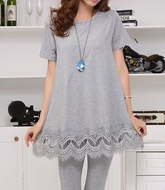 $10.30 Casual Round Collar Short Sleeve Spliced Lace Hem Solid Color T-Shirt For Women