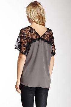 V-Neck Lace Shoulder Top
