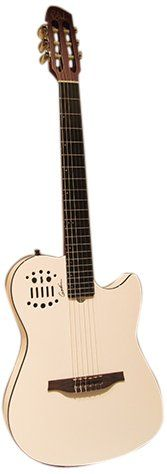 """Godin 039470 Multiac Nylon SA White HG. Specs, Mahogany neck, Richlite Fingerboard, 16"""" fingerboard radius, 25 1/2"""" Scale, 1 7/8"""" nut width, Chambered Mahogany body. Solid Spruce Top Custom RMC electronics with 13-pin connector for direct control of Roland GR Series and Axon AX100 guitar synths Natural High-Gloss finish. The 25 1/2"""" scale, the 1 7/8"""" nut width, and the fingerboard radius-a slight 16""""-all contribute to an easy feel for steel string players to adapt to."""