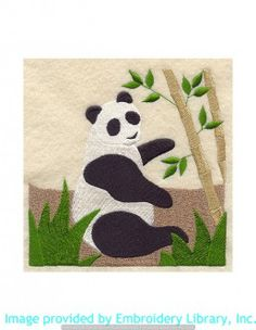 Stickmotiv Stickbild Aufnäher Stickerei Emblem Asien Panda Panda / Stickerei Panda Quilt Block - Lg (B1760)