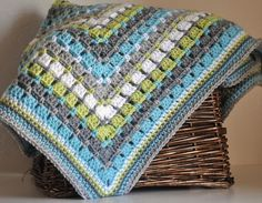 Blue Grey and Lime Green Granny Square Style by AllThingsGranny, $100.00