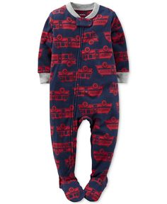 Cool firetrucks pair with snuggly fleece to create cuddly bedtime attire for your little one with these zip-up footed pajamas by Carter's. | Polyester | Machine washable | Imported | Contrast ribbed c