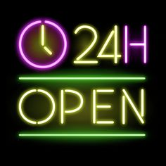 24 hours, open, neon, neons, light, lights, 24h, shop,shops, time, opening,closing,vintage, 90's, 80's, 90,80