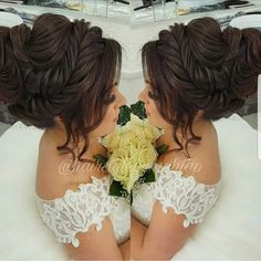 very similar hairstyle ~ very balanced, (very very) mature, solid, matching, very neat, deeply tribal, highly artistic, and flattering ~ 🍪high Quince Hairstyles, Indian Bridal Hairstyles, Fancy Hairstyles, Bride Hairstyles, Hairstyles Haircuts, Romantic Wedding Hair, Wedding Hair And Makeup, Bridal Hairdo, Hairstyle Look