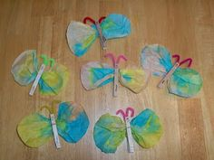 butterfly coffee filters and clothespins