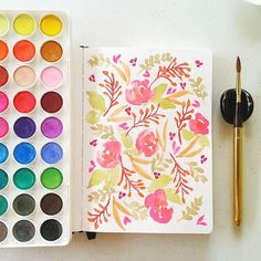 Floral pattern #calligrafikas #watercolor   Paper: Monologue sketchbook A5 Paint: Simbalion watercolor cakes Brush: Escoda No 6
