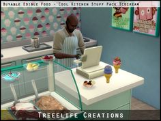 The Sims 4   Treelife Creations EA Buyable & Edible Food - SP03 Cool Kitchen Stuff Pack Ice-creams