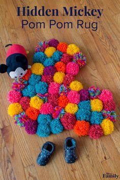 hidden mickey pom pom rug
