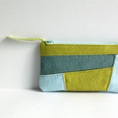 Wool Felt Coin Purse Wallet // Patchwork // by LoftFullOfGoodies, $23.95