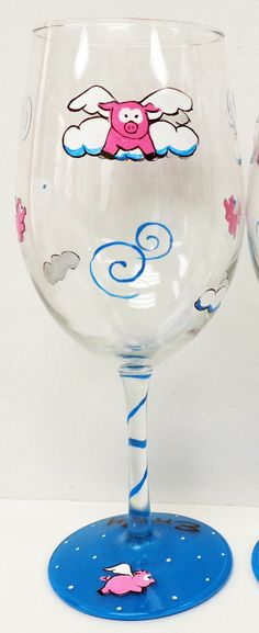 ONE Flying Pig Wine Glass  painted wine glass by Pendragonartworks