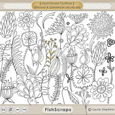 Mod Flower Digital Stamps, Printable Line Art + Silhouettes, Digital Clip Art Flower Doodles, Create Floral Stationery, Hand Embroidery