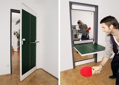 Ping pong table door. Awesome