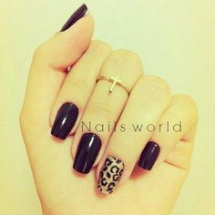 Black and leopard nails