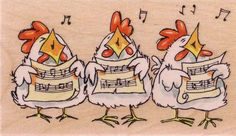 Carolers (Chickens) on www.addictedtorubberstamps.com