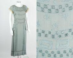 VTG  RARE EARLY 1920s LIGHT BLUE BEADED SILK EVENING DRESS ERMINE FUR TRIM