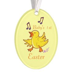 Singing Chick Baby's 1st Easter Oval Ornament #Easter  #ornament #oval #babychick #music #yellow #home #decoration