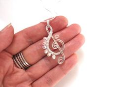 Handmade G Clef Pendant Silver with Crystals Wire Wrapped ...