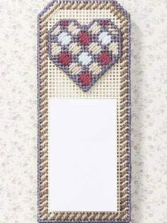 Plastic Canvas - Accessories - Kitchen & Dining - Note Holder With Heart - #FP00084