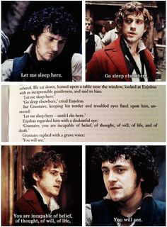 Enjolras and Grantaire - quotes from the book