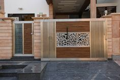 Main Gate Design: modern Houses by RAVI - NUPUR ARCHITECTS Modern Front Gate Design, Iron Main Gate Design, Home Gate Design, Gate Wall Design, Grill Gate Design, Gate Designs Modern, House Main Gates Design, Steel Gate Design, Door Design Interior